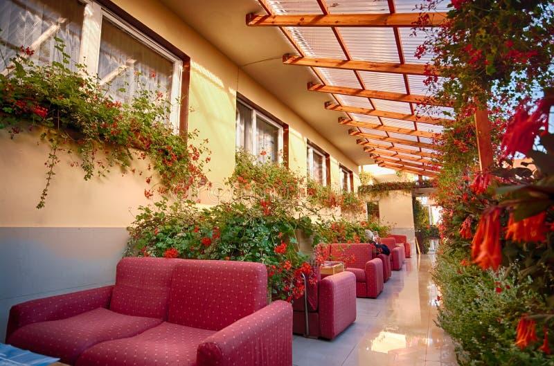 Gartenpatio mit Sofas und Blumen lizenzfreie stockfotos
