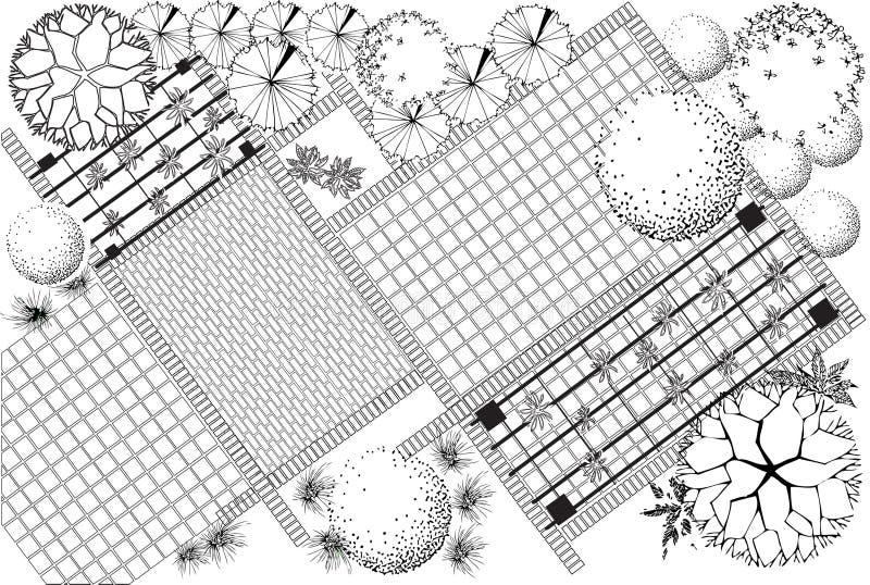Gartenplan Schwarzweiss stock abbildung