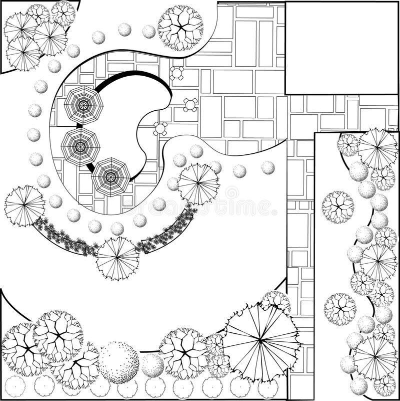 Gartenplan Schwarzweiss vektor abbildung