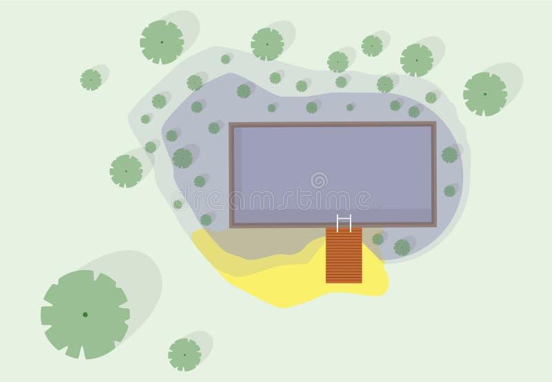 Gartenprojekt am Baden von Teich Natürlicher Gartenschwimmenteich stock abbildung