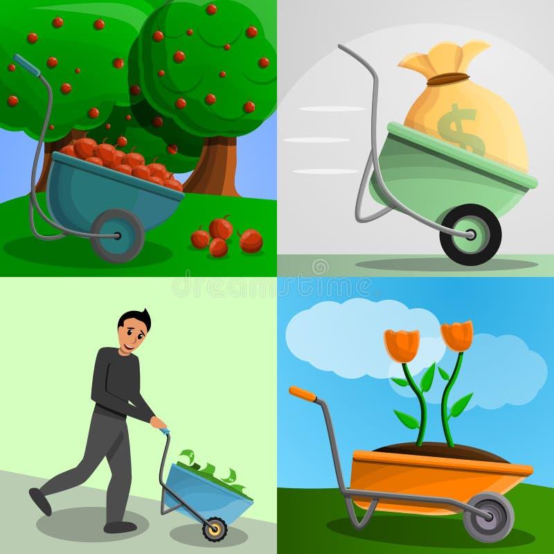 Gartenschubkarre-Fahnensatz, Karikaturart stock abbildung