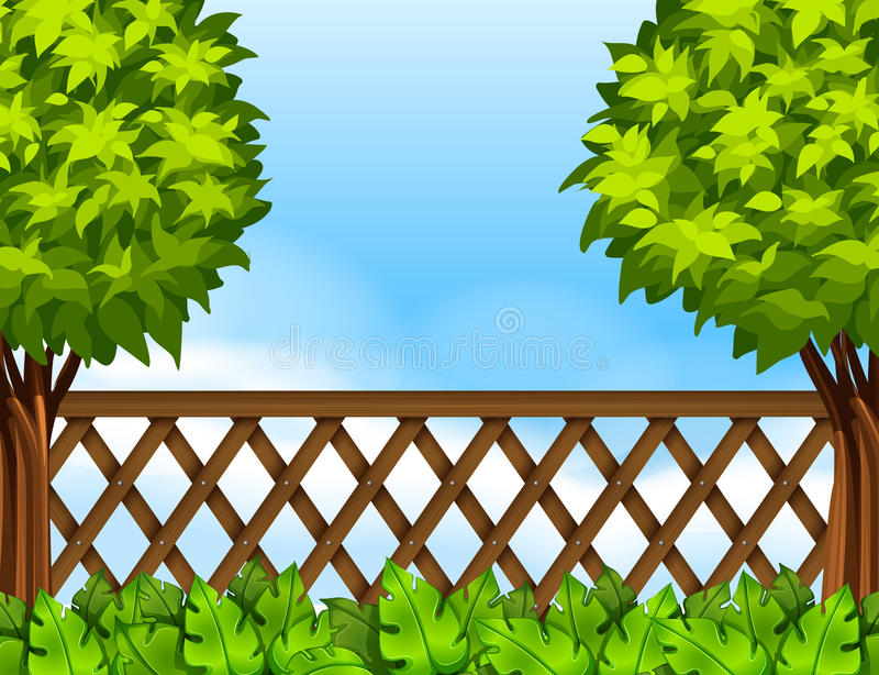 Gartenszene mit Zaun und Bäumen stock abbildung