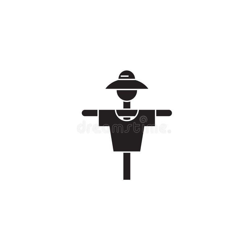 Gartenvogelscheuchenschwarzvektor-Konzeptikone Flache Illustration der Gartenvogelscheuche, Zeichen vektor abbildung