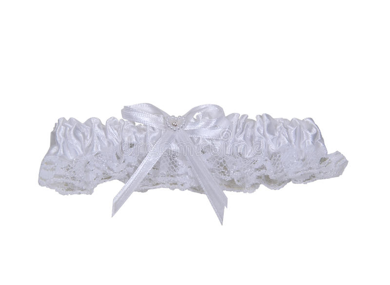 Garter belt. Made of lace and ribbon worn as a decorative accessory on the leg or thigh - path included stock photos