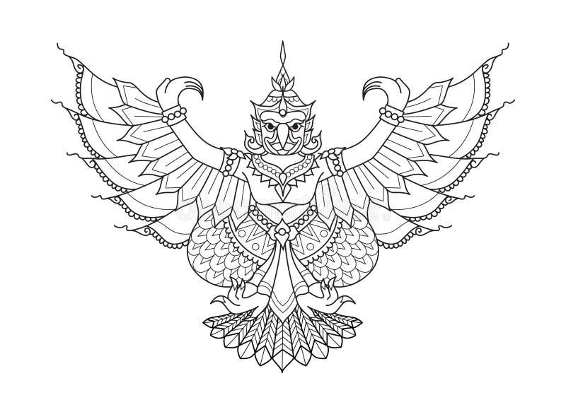 Garuda der halbe menschliche halbe Vogel, Tier in der thailändischen Literatur für Gestaltungselement, druckte T-Stück und Malbuc stock abbildung