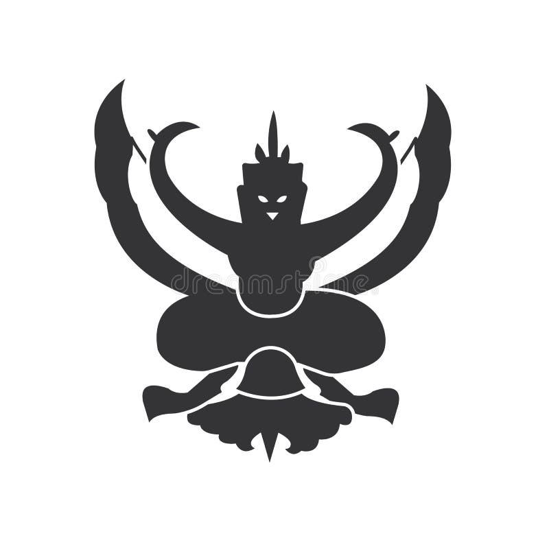 Garuda emblemata loga wektor Prosty Tajlandia Krajowy emblemat Sylwetki garuda ikona royalty ilustracja