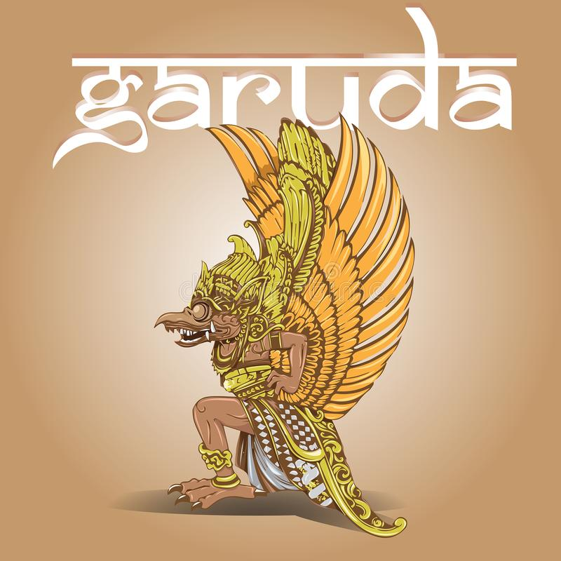 Garuda illustration med balinessestildesign royaltyfri illustrationer