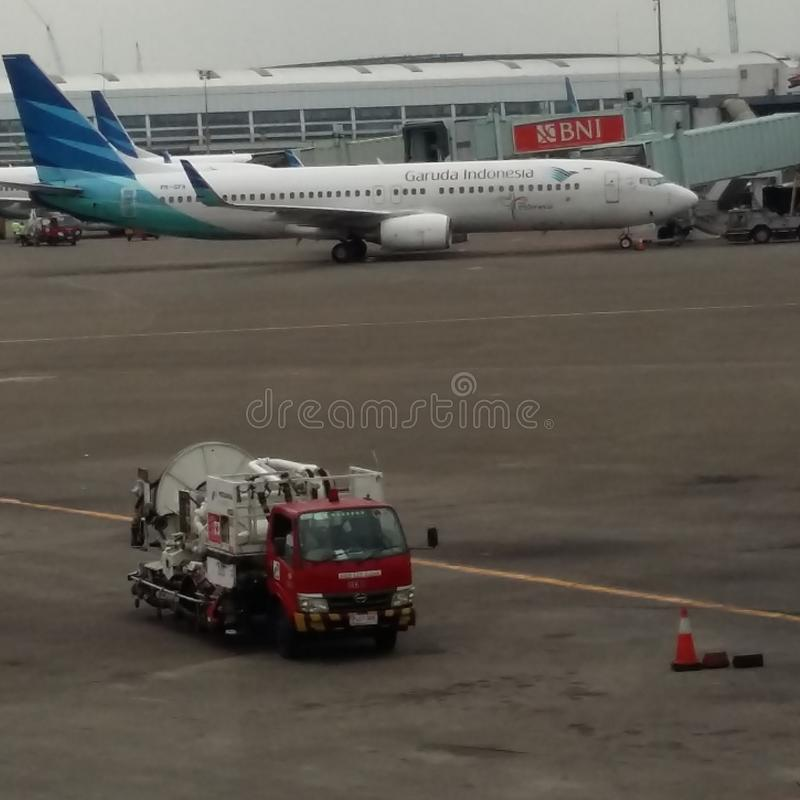 Garuda Indonesia 737 fotografia stock libera da diritti