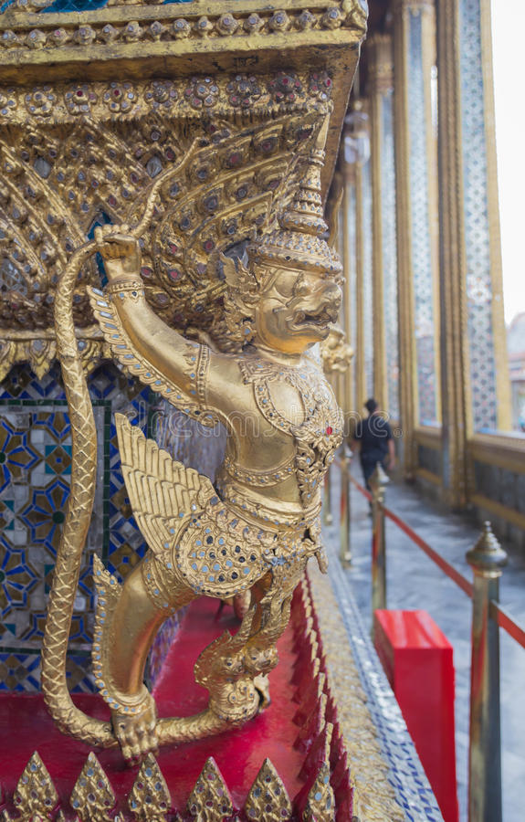 Garuda. Sculpture at Wat Phra Kaew in Bangkok as a tourist attraction royalty free stock photos