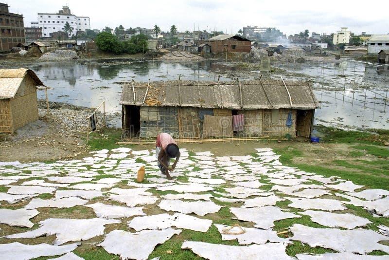 Garverikälla av inkomst och förorening i Dhaka arkivfoto