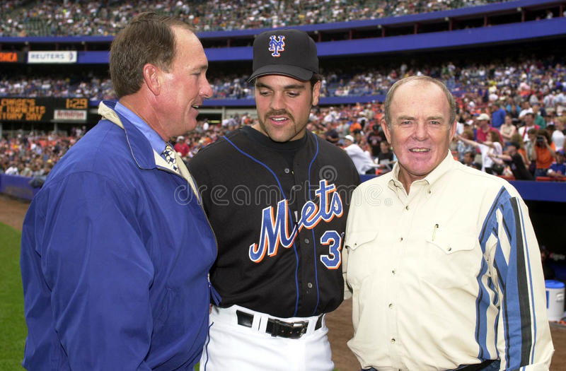 Gary Carter, Mike Piazza and Jerry Grote stock photos