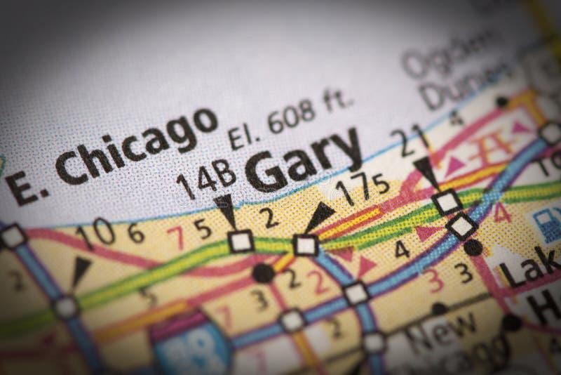 Gary, Indiana na mapie zdjęcia royalty free