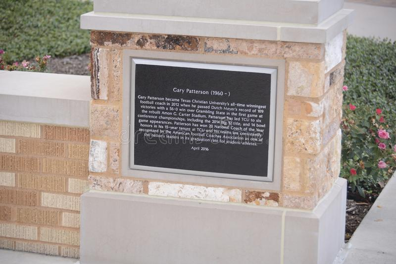 Gary Patterson Plaque at TCU, Fort Worth, Texas stock photos