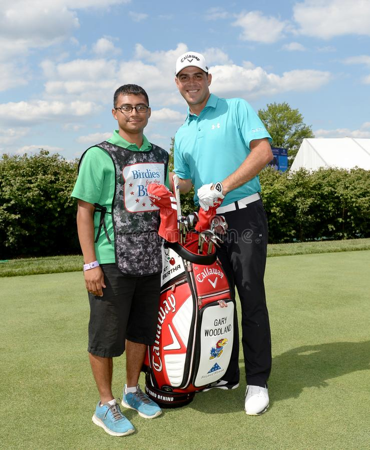Gary Woodland bij 2015 Barclays pro-Am hield in Plainfield Country Club in Edison, New Jersey royalty-vrije stock afbeelding