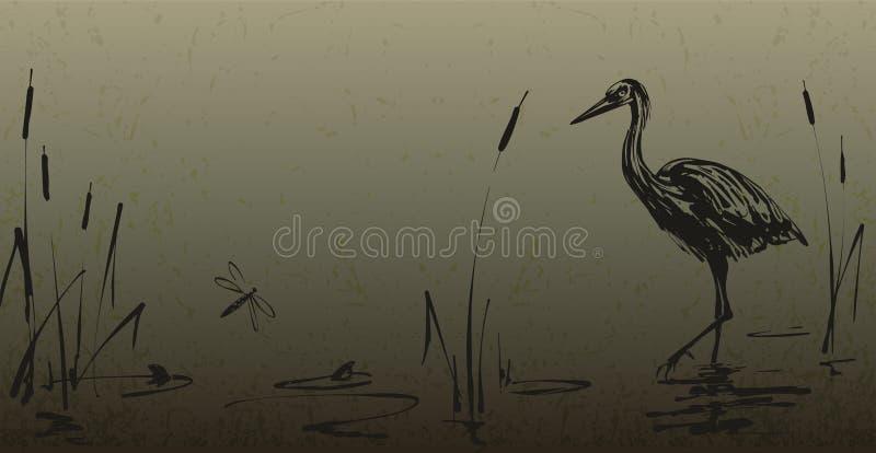 Garza de la tinta en el papel texturizado libre illustration