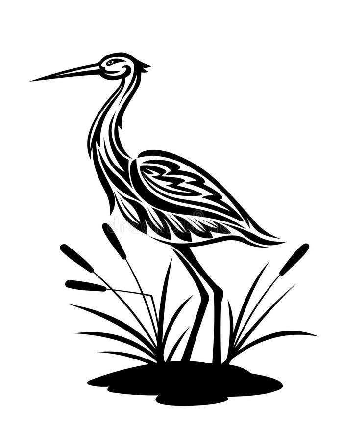 Garza en el paisaje del pantano libre illustration