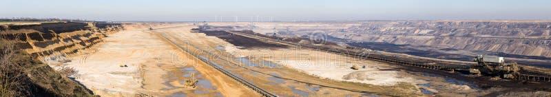 GARZWEILER, ГЕРМАНИЯ - 14-ОЕ ФЕВРАЛЯ 2018: : Огромная панорама поля открытой разработки бурого угля стоковое фото
