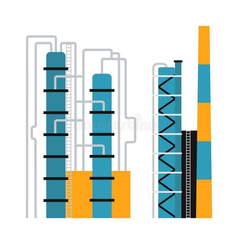 Gasöl-Produktionsindustrie-Geschäftskonzept des Benzindieselkraftstoffverteilungs- und -transportzusammensetzungsvektors stock abbildung