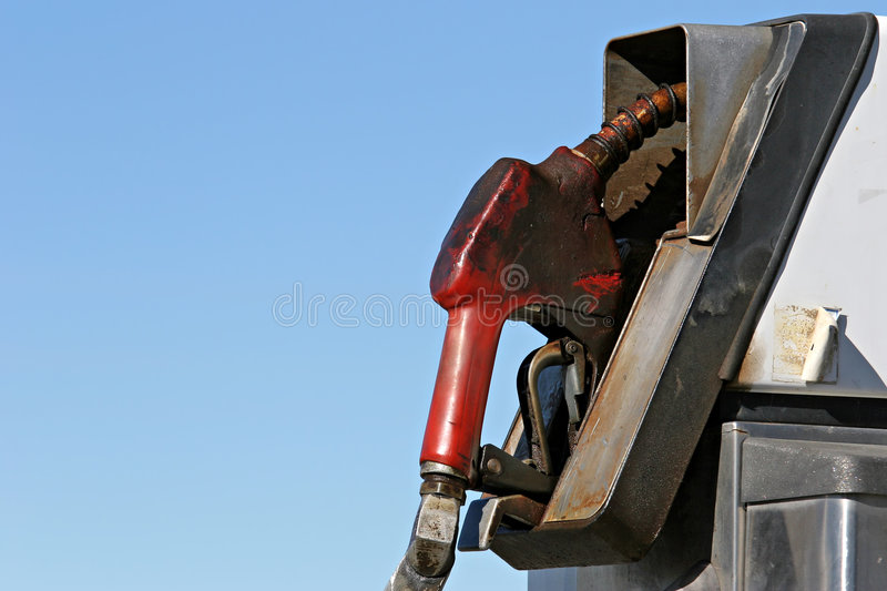 Gas. Pump, old and greasy with copyspace stock images
