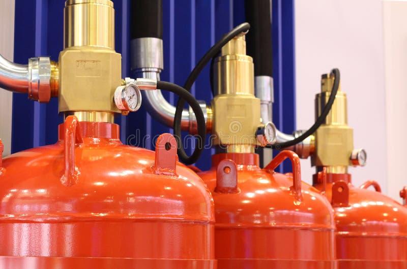Gas automático que extingue la instalación Sistemas extintores del gas modular foto de archivo libre de regalías
