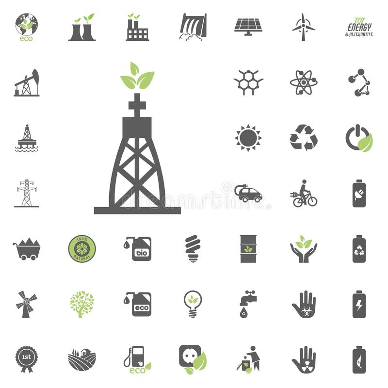 Gas-avfyrad kraftverksymbol Uppsättning för Eco och för alternativ energi vektorsymbol Vektor för uppsättning för resurs för makt stock illustrationer