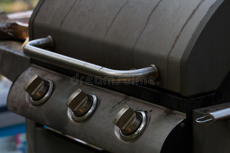 Gas barbecue grill. Close-up stock photos