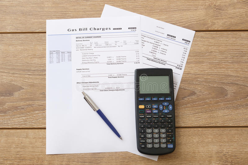 Gas bill charges paper form. On the table stock photo