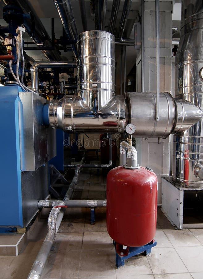 Gas boiler house stock photo