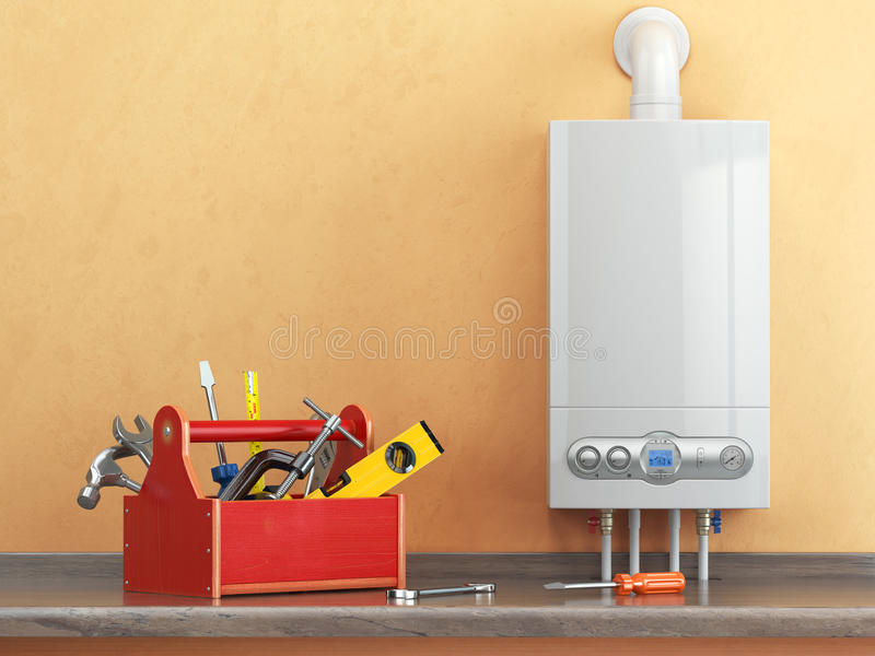 Gas boiler servicing or repearing concept. Toolbox with tools on vector illustration