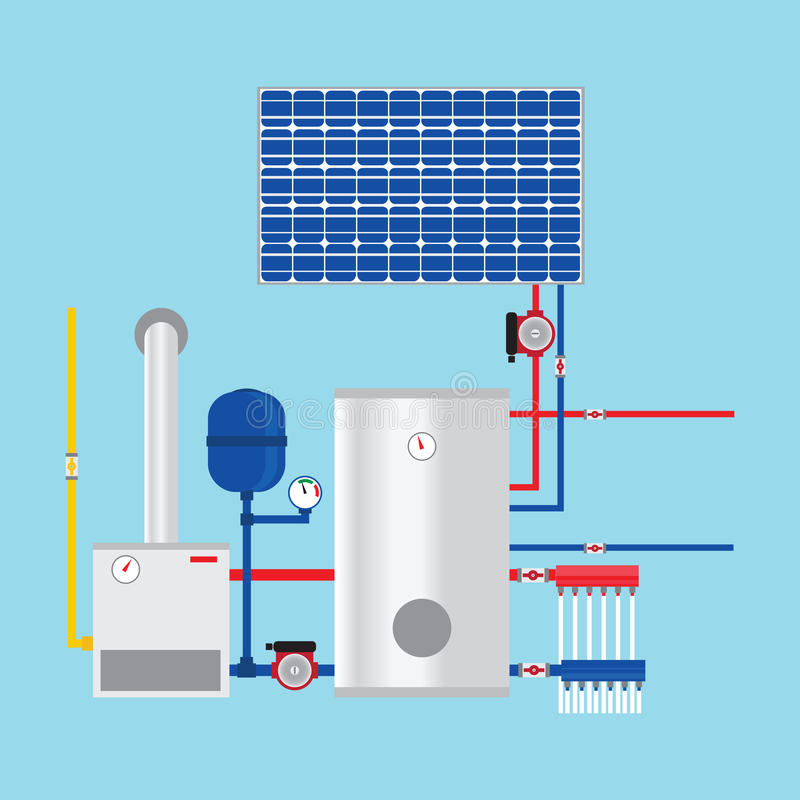Gas Boiler And Solar Panels. Eco-house. Stock Vector - Illustration ...