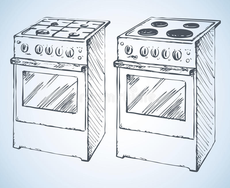 Gas and boiling tables. Vector drawing. Gas and boiling tables hotplate with four hob plate and buttons on white. Vector freehand ink drawn background sketchy in royalty free illustration
