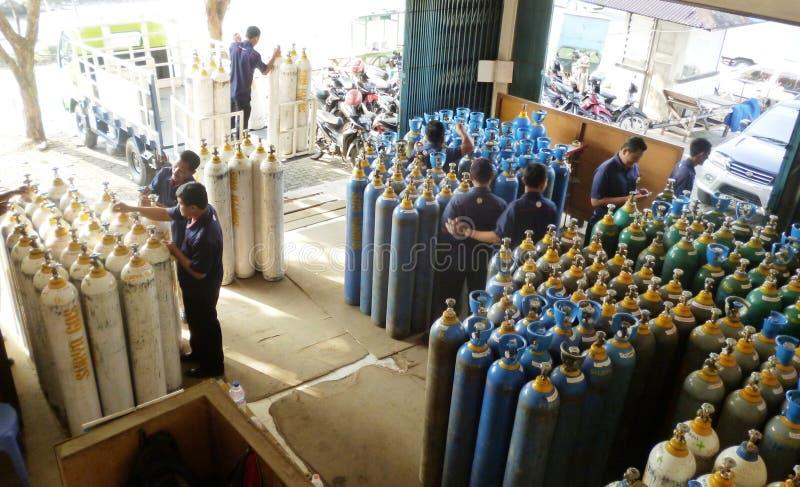 Gas bottles store stock photo