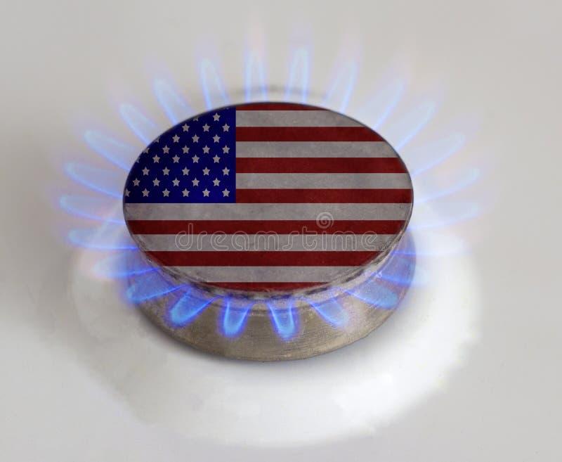 Gas burner with flag. USA. Gas symbol. Gas burner with flag. USA.Gas stock image