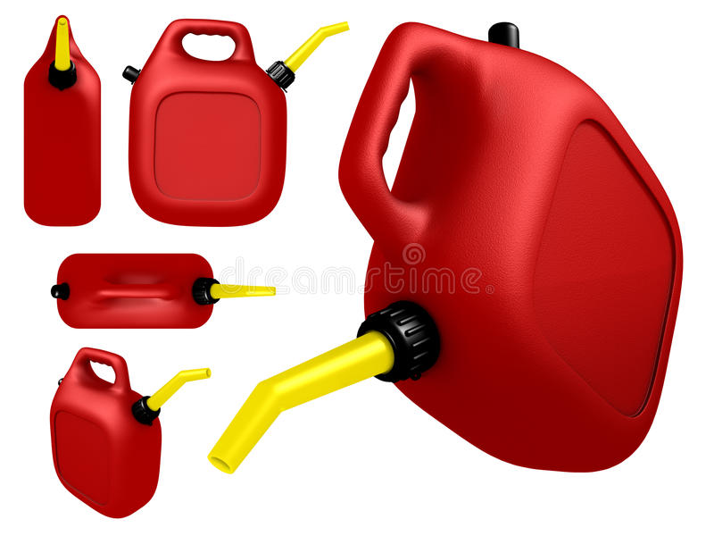 Gas can. Red plastic gas can in different angles. the big one has fuel you can see through the plastic. 3d render stock illustration