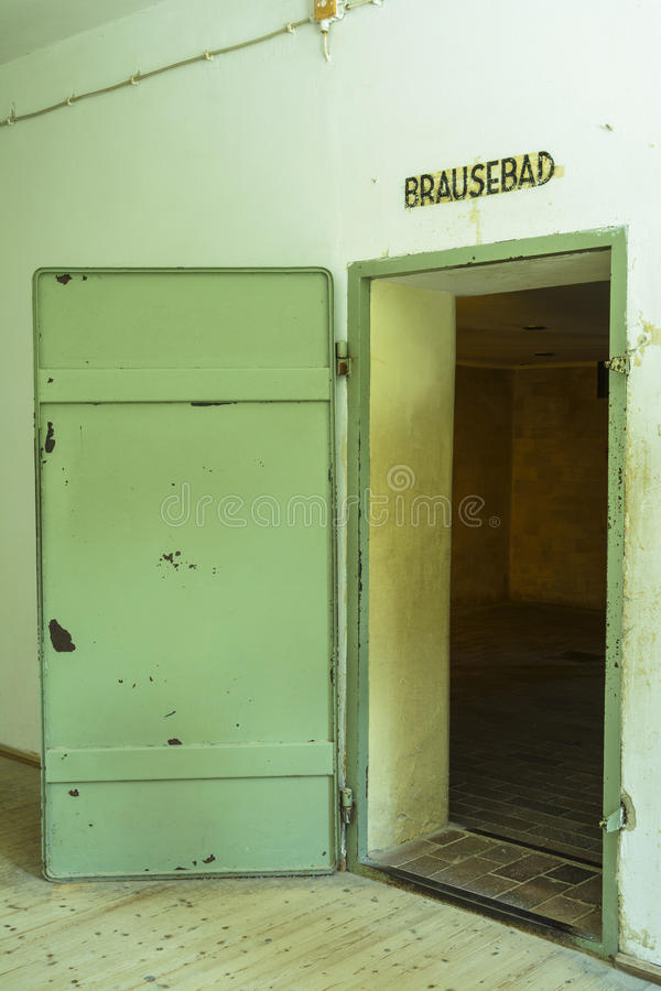 Gas chamber entrance in Dachau Concentration Camp, Germany royalty free stock image