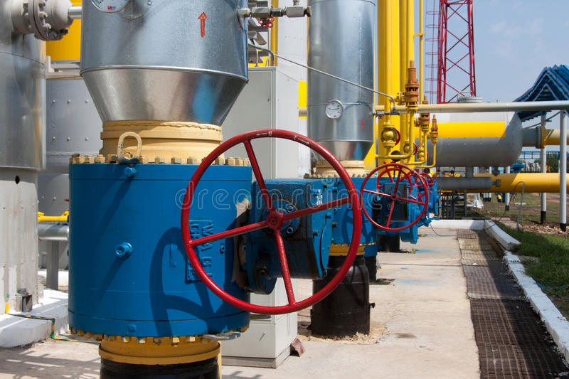Download Red Handle Gate Valve With Steel Pipe On Gas Compressor Station Stock Photo - Image: 25338828