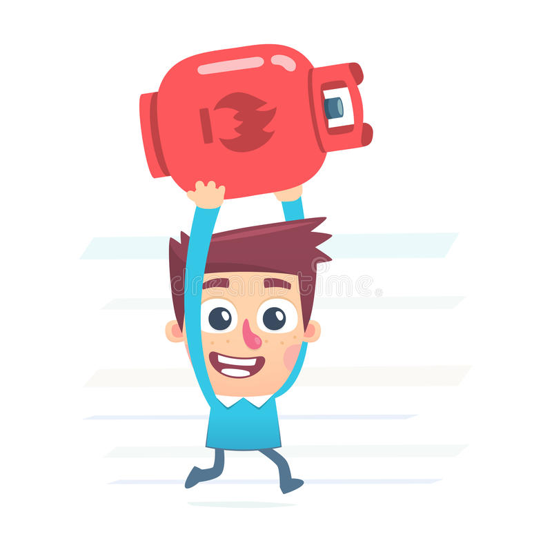 Gas cylinder for kitchen. Cartoon conceptual illustration of funny character stock illustration
