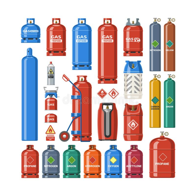 Gas cylinder vector lpg gas-bottle and gas-cylinder illustration set of cylindrical container with liquefied compressed. Gases with high pressure and valves stock illustration