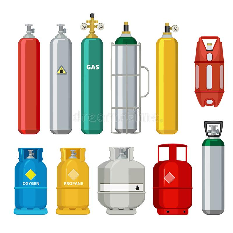 Free Gas Cylinders Icons. Petroleum Safety Fuel Metal Tank Of Helium Butane Acetylene Vector Cartoon Objects Isolated Royalty Free Stock Images - 128284139