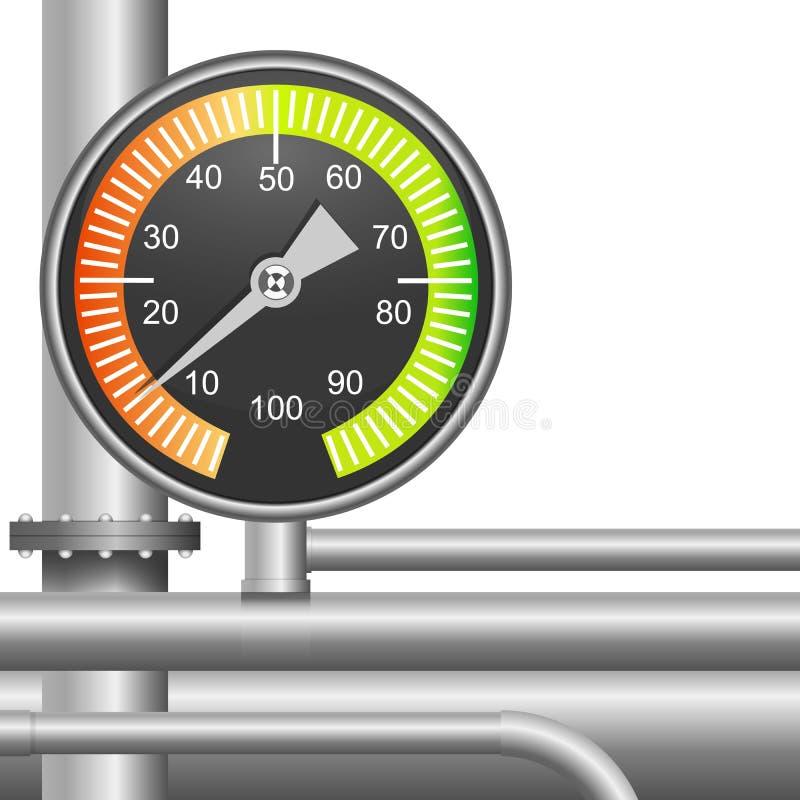 Gas, de klep van de brandstofpijp en drukmeter stock illustratie