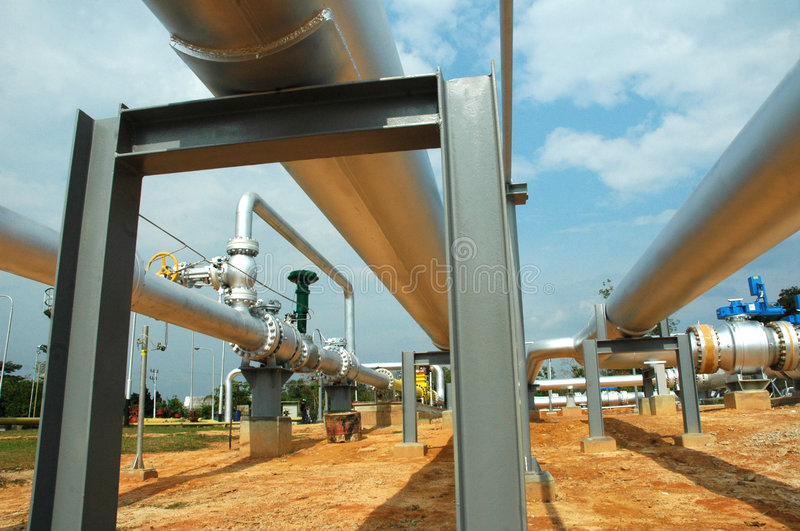 Gas distribution pipes royalty free stock photo
