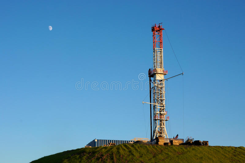 Gas Drill on Hilltop stock photo