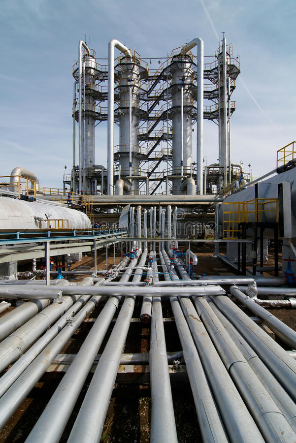 Gas-elaborare industria fotografie stock