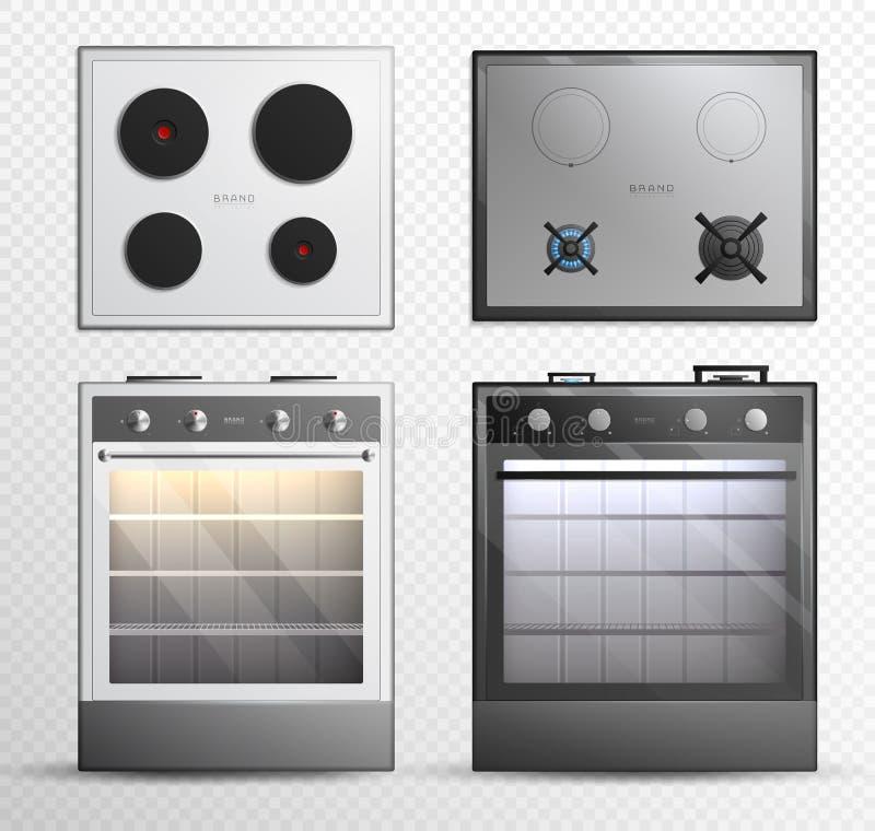Gas-elektrischer Koch-Top Stove Icon-Satz vektor abbildung