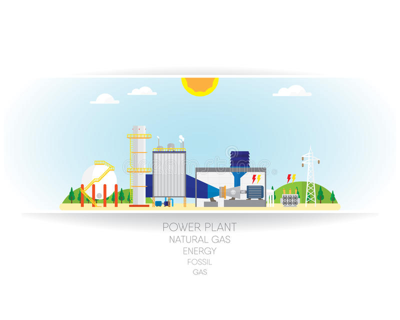 Gas energy. On white paper background, gas turbine with heat recovery steam stock illustration