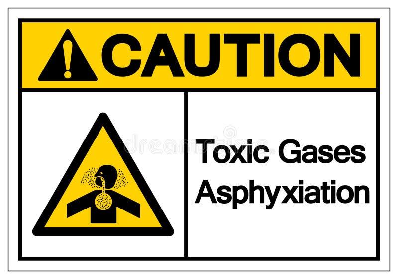 Gas-Erstickungs-Symbol-Zeichen der Vorsicht-toxischen Substanz, Vektor-Illustration, Isolat auf weißem Hintergrund-Aufkleber EPS1 stock abbildung