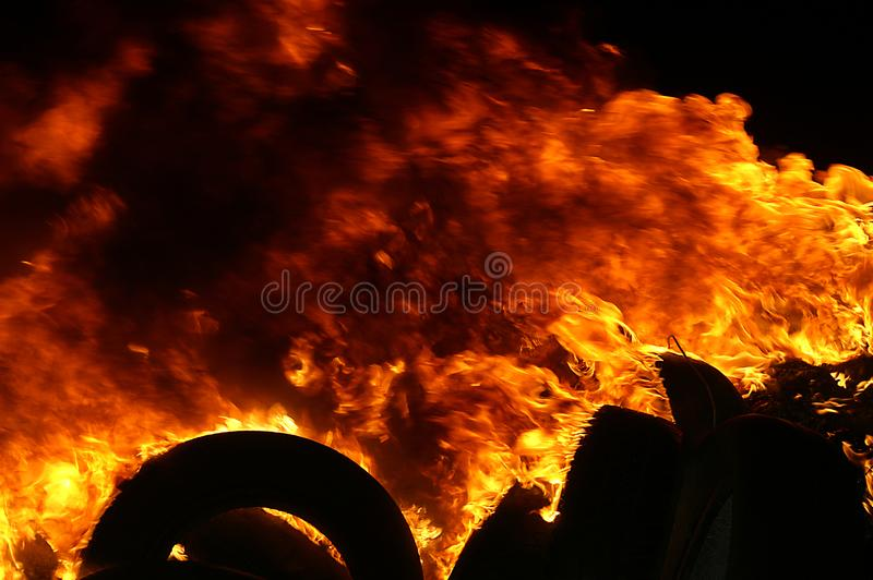Gas explosion, fire and destruction, large incident,. Fire risk, emergency royalty free stock photography