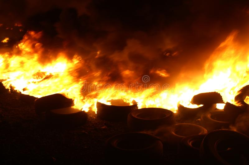 Gas explosion, fire and destruction, large incident,. Fire risk, emergency royalty free stock photos