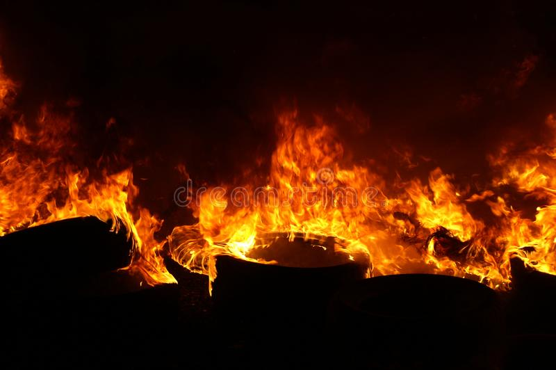 Gas explosion, fire and destruction, large incident,. Fire risk, emergency royalty free stock image