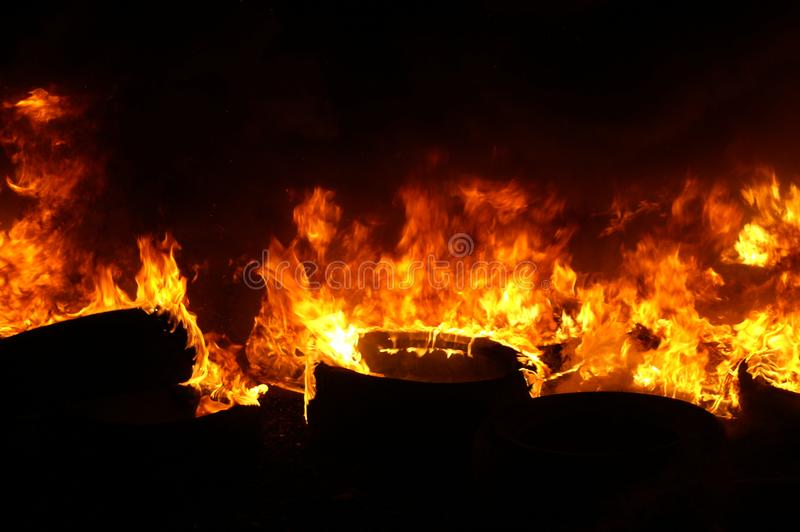 Gas explosion, fire and destruction, large incident,. Fire risk, emergency royalty free stock photo